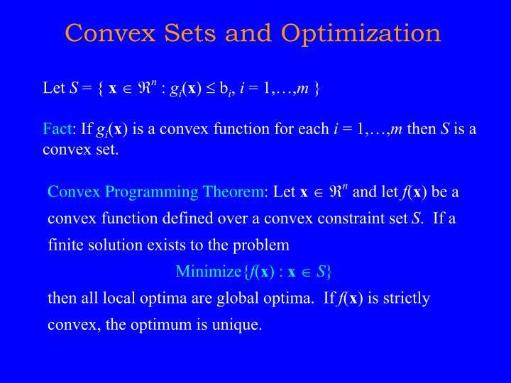 Convex Sets and Optimization