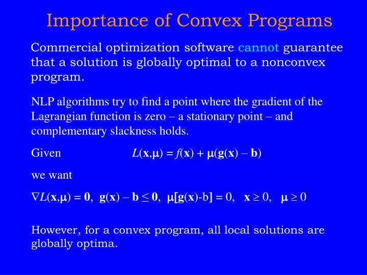 Importance of Convex Programs