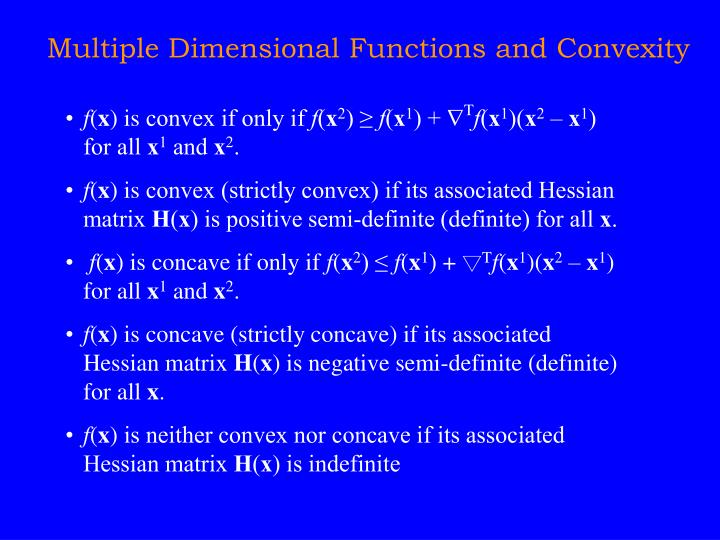 Multiple Dimensional Functions and Convexity