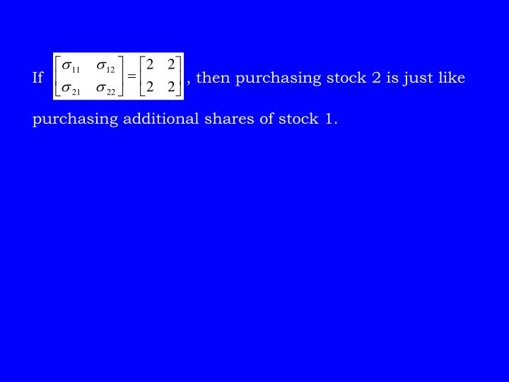 If                             , then purchasing stock 2 is just like purchasing additional shares of stock 1.