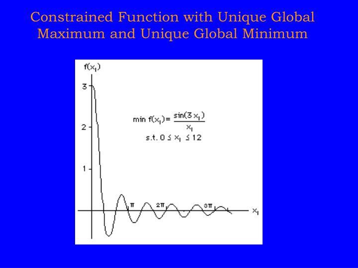 Constrained Function with Unique Global Maximum and Unique Global Minimum