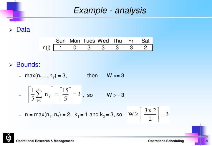 Example - analysis