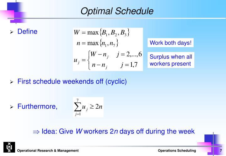 Optimal Schedule