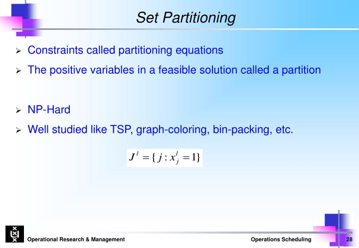 Set Partitioning