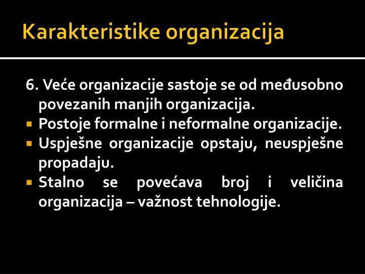 Karakteristike organizacija