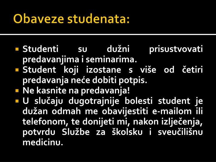 Obaveze studenata: