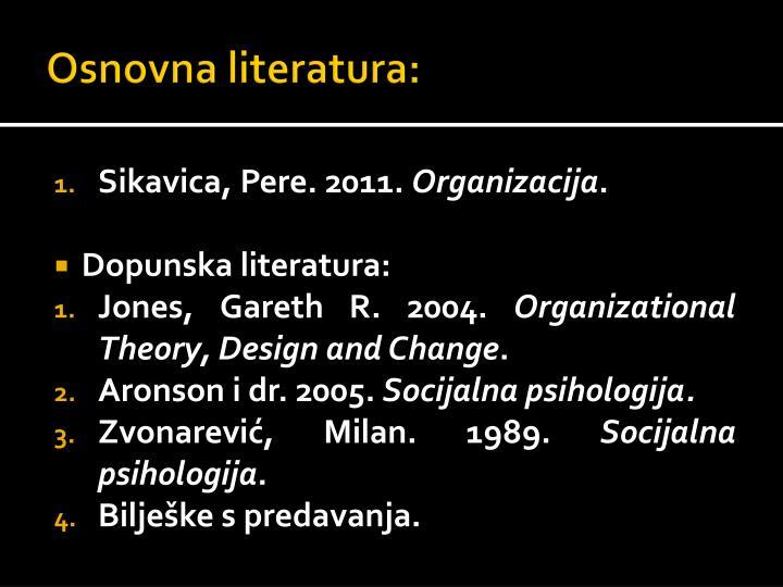 Osnovna literatura: