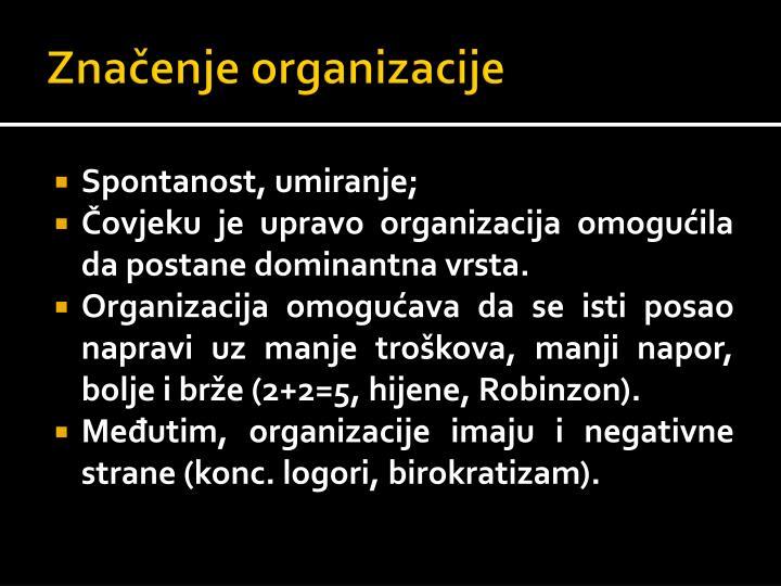 Zna enje organizacije