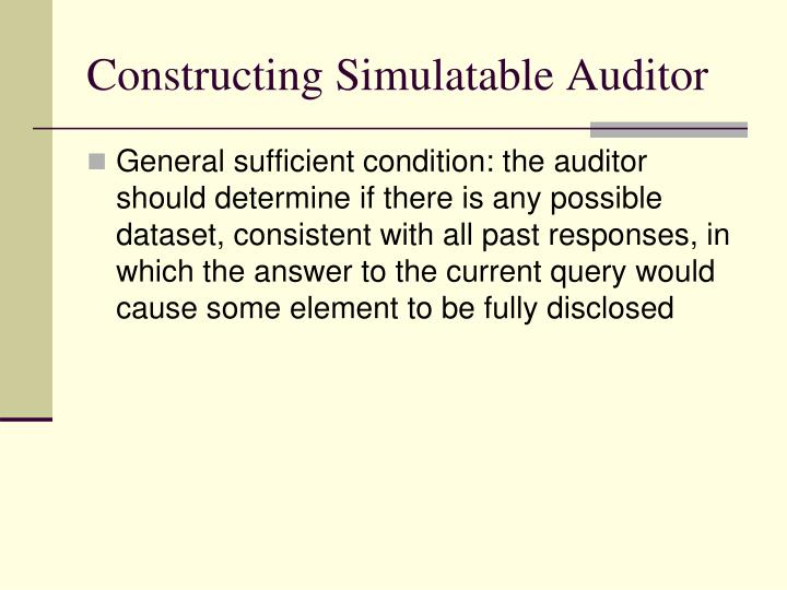 Constructing Simulatable Auditor