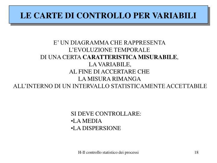 LE CARTE DI CONTROLLO PER VARIABILI