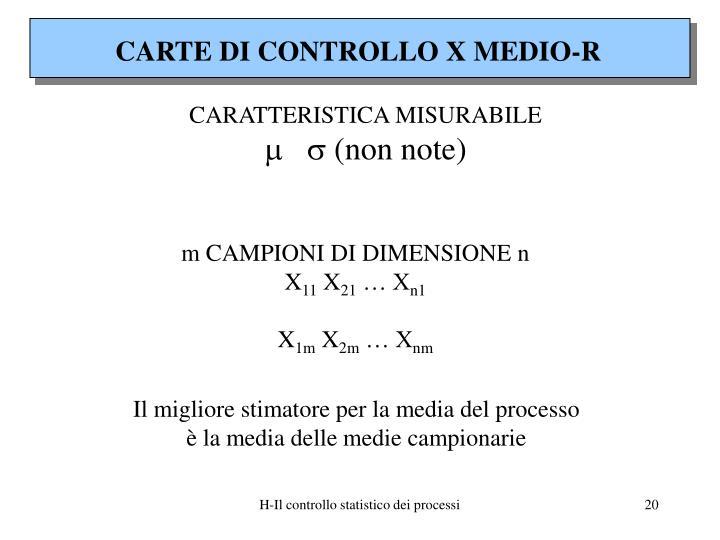 CARTE DI CONTROLLO X MEDIO-R