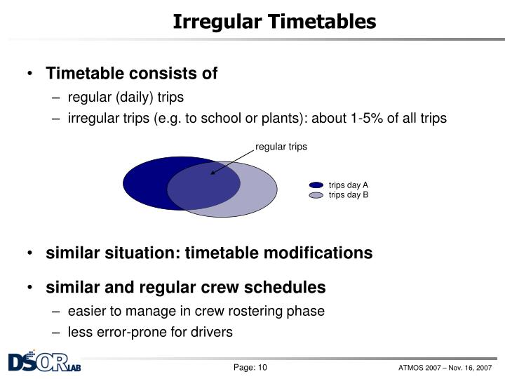 Irregular Timetables