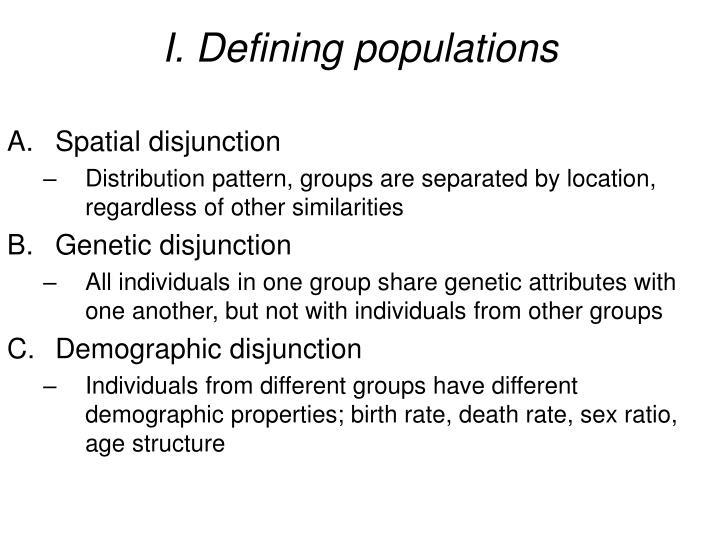I defining populations