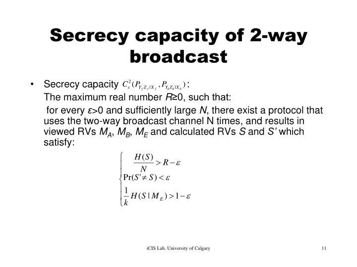Secrecy capacity of 2-way broadcast