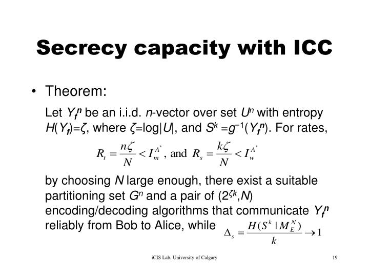 Secrecy capacity with ICC