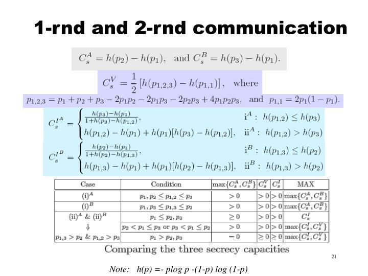 1-rnd and 2-rnd communication