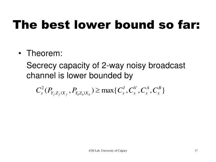 The best lower bound so far: