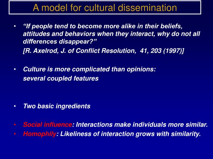 A model for cultural dissemination
