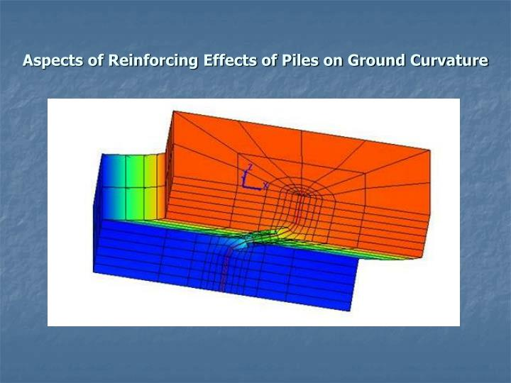 Aspects of Reinforcing Effects of Piles on Ground Curvature
