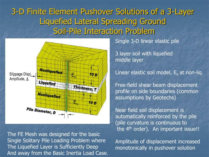 3-D Finite Element Pushover Solutions of a 3-Layer Liquefied Lateral Spreading Ground