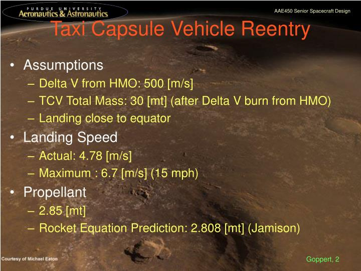 Taxi capsule vehicle reentry