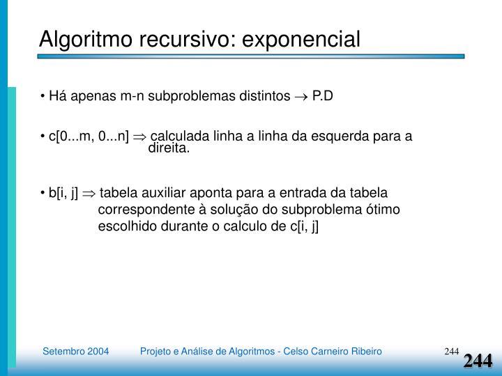 Algoritmo recursivo: exponencial