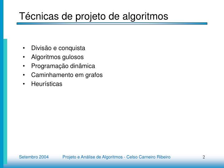 T cnicas de projeto de algoritmos