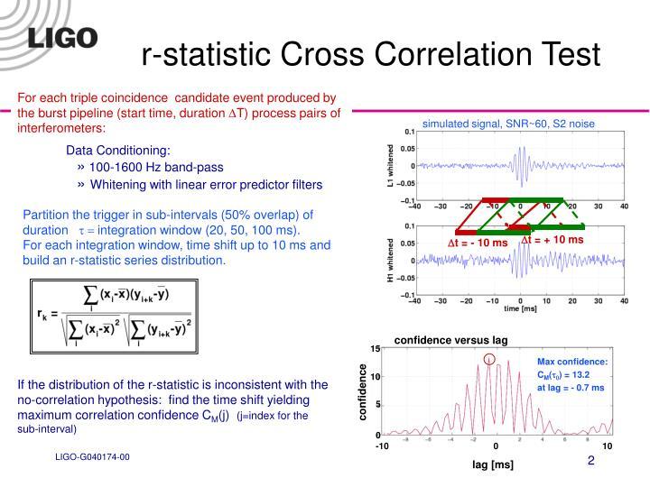 R statistic cross correlation test