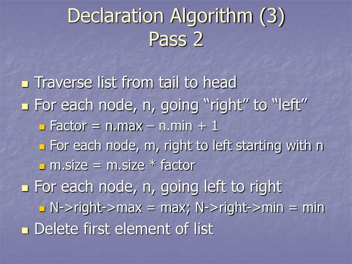 Declaration Algorithm (3)