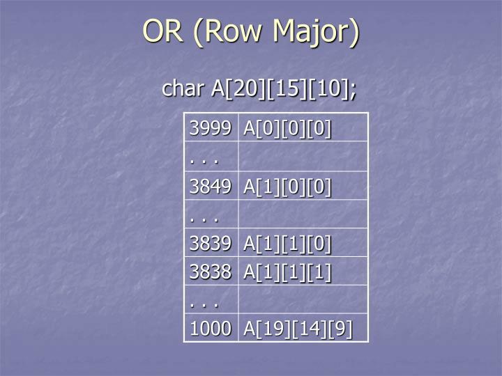 OR (Row Major)