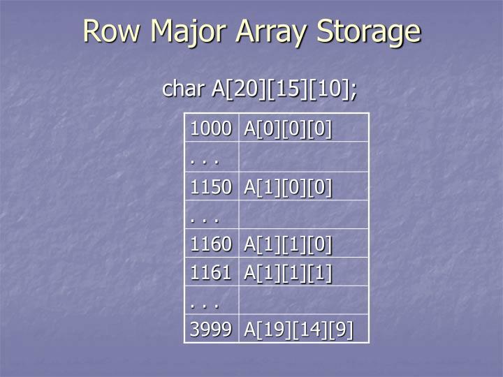 Row major array storage