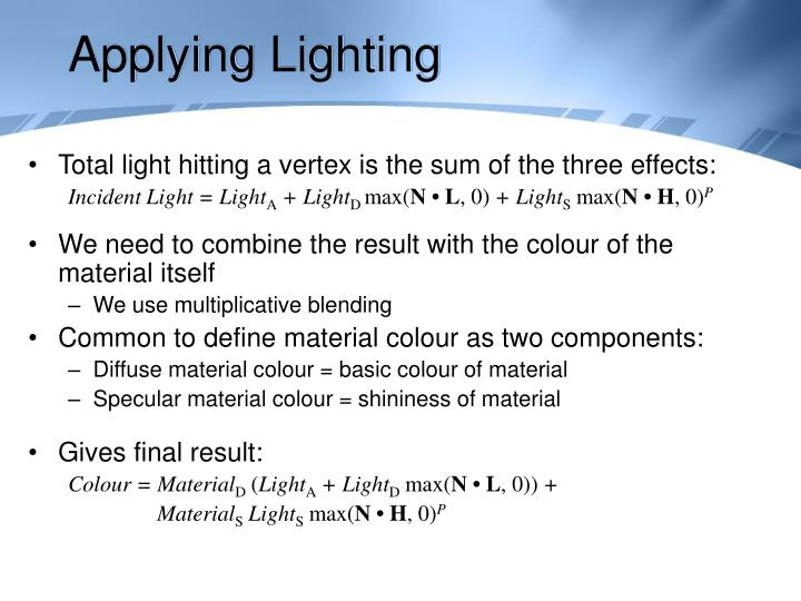 Applying Lighting