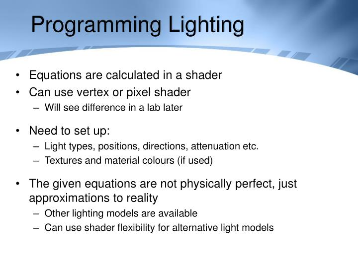 Programming Lighting