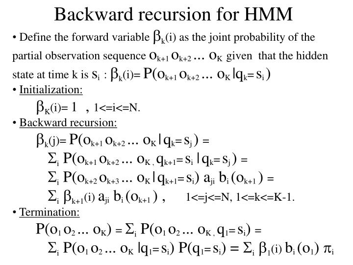 Backward recursion for HMM