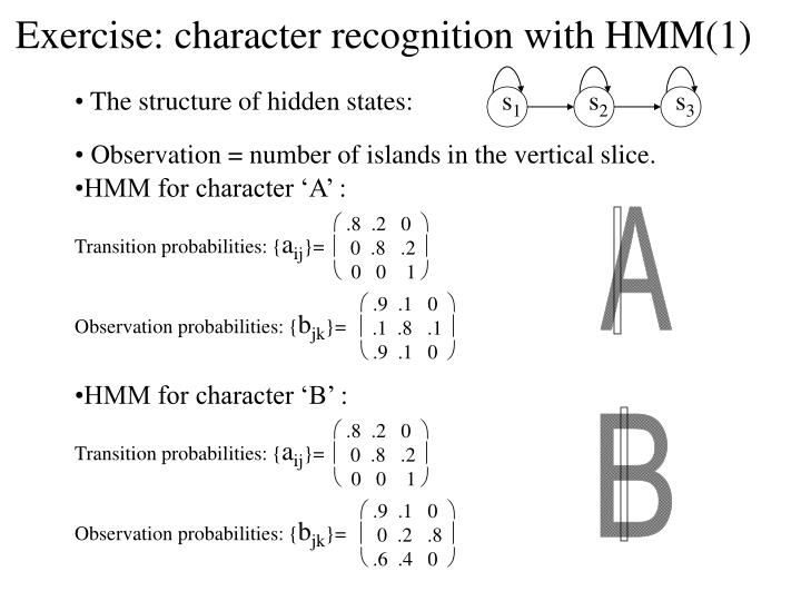 Exercise: character recognition with HMM(1)