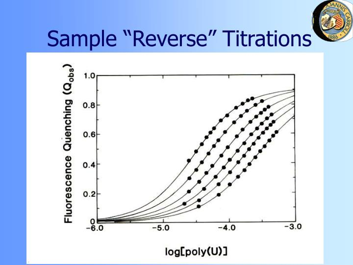 "Sample ""Reverse"" Titrations"