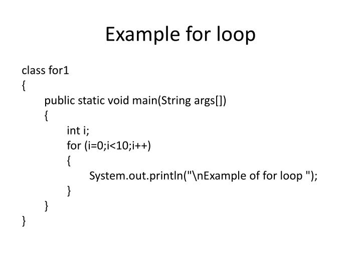 Example for loop