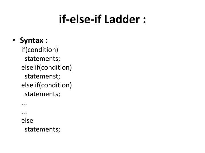 if-else-if Ladder :
