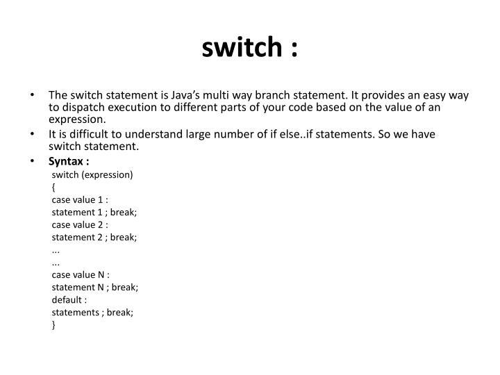 switch :