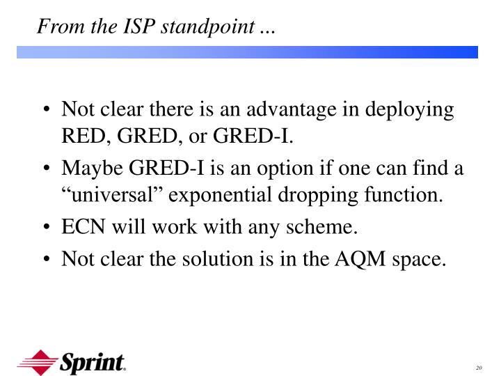 Not clear there is an advantage in deploying RED, GRED, or GRED-I.