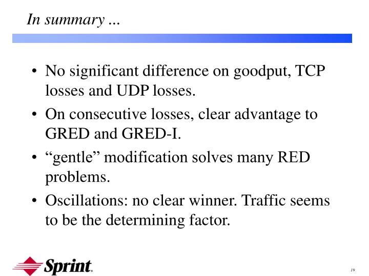 No significant difference on goodput, TCP losses and UDP losses.