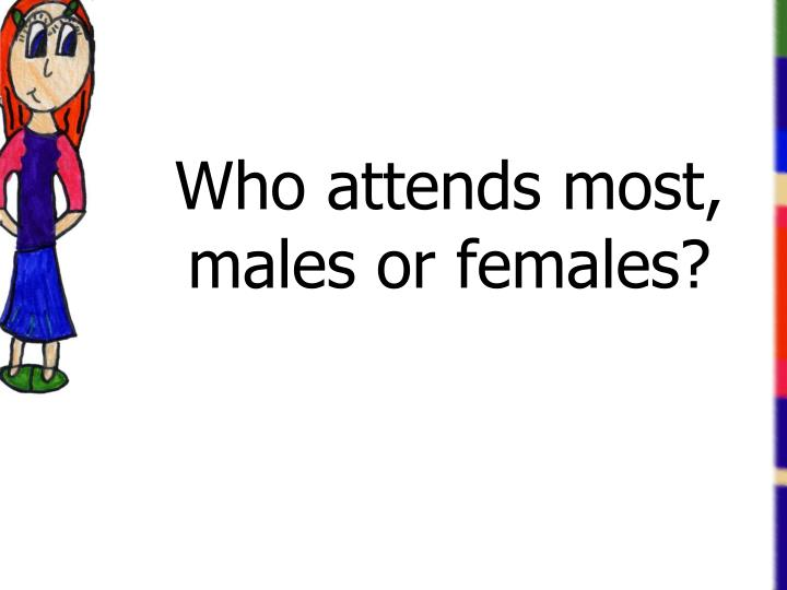 Who attends most, males or females?