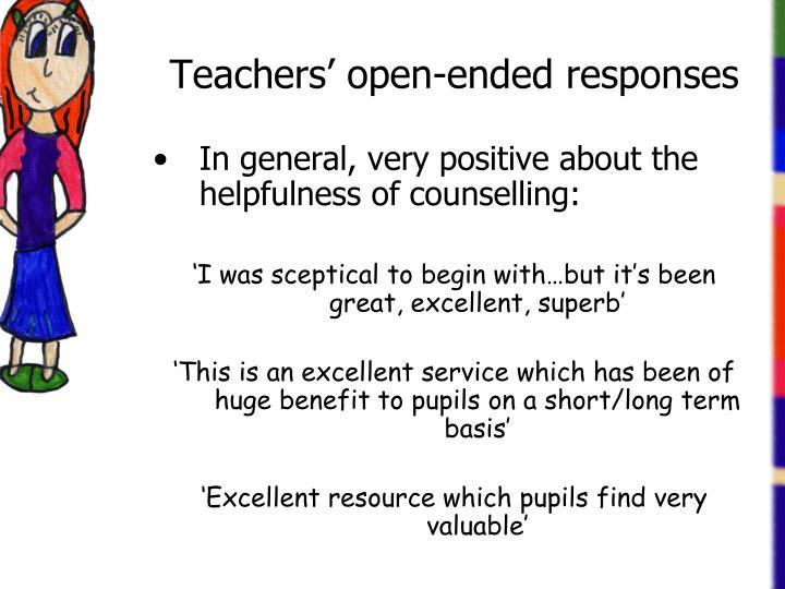 Teachers' open-ended responses