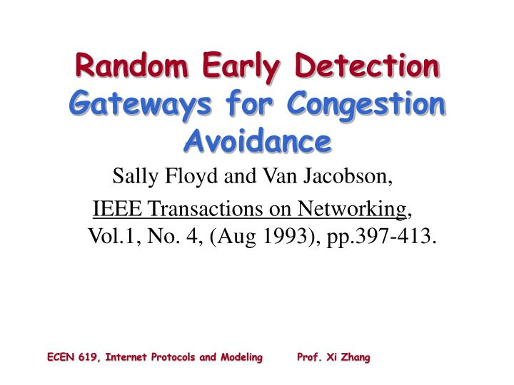 random early detection gateways for congestion avoidance n.