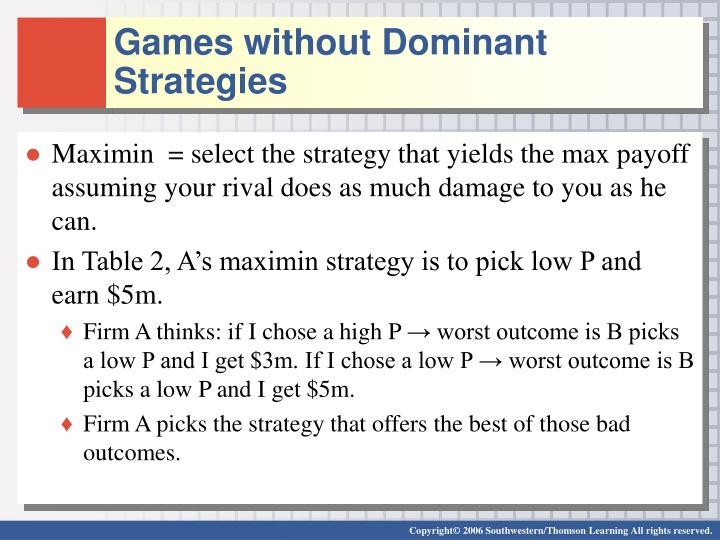 Games without Dominant Strategies