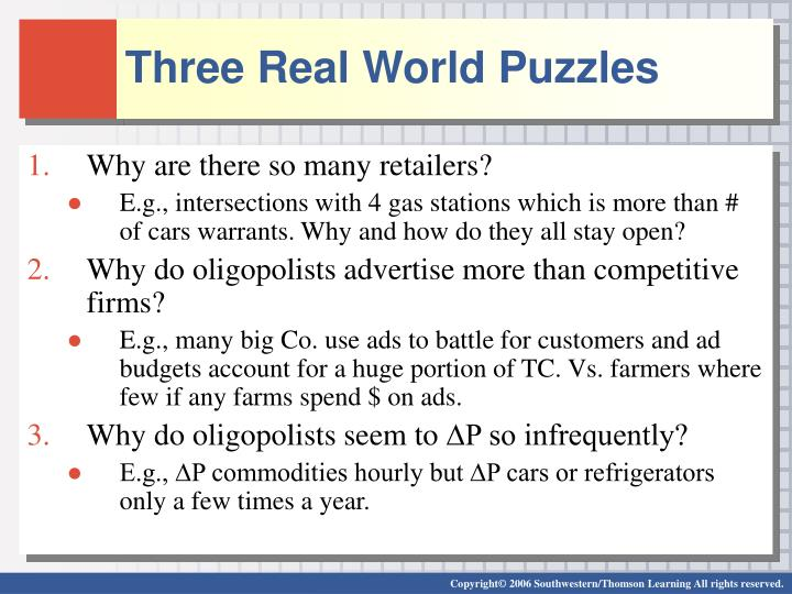 Three real world puzzles