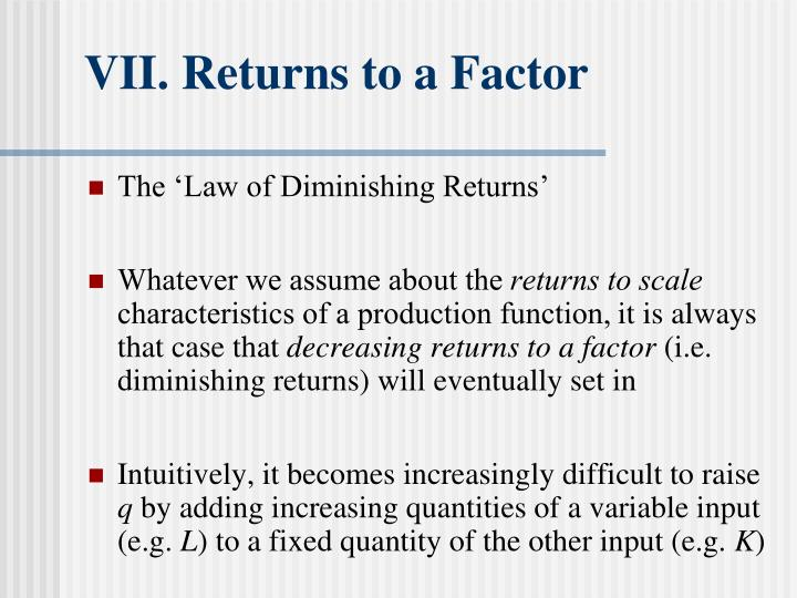VII. Returns to a Factor