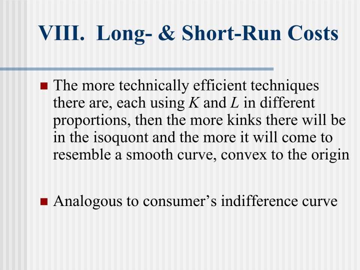 VIII.  Long- & Short-Run Costs