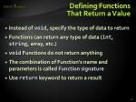 defining functions that return a value