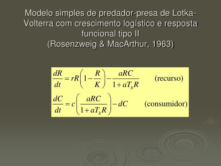 Modelo simples de predador-presa de Lotka-Volterra com crescimento logístico e resposta funcional tipo II